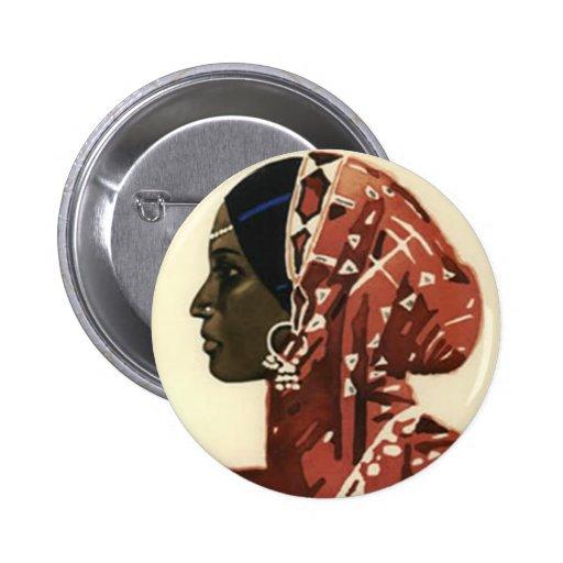 Botón del club del amor y de la paz de la mujer pin redondo de 2 pulgadas