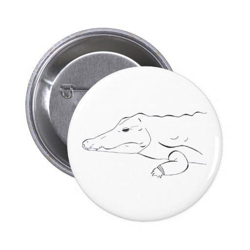Botón del cocodrilo pin redondo de 2 pulgadas