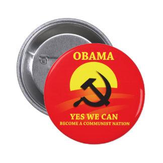 Botón del comunista de Obama Pin Redondo De 2 Pulgadas