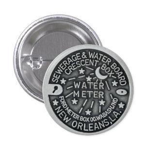Botón del contador del agua de New Orleans Pin Redondo De 1 Pulgada