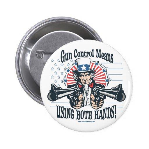 Botón del control de armas del tío Sam Pin Redondo De 2 Pulgadas
