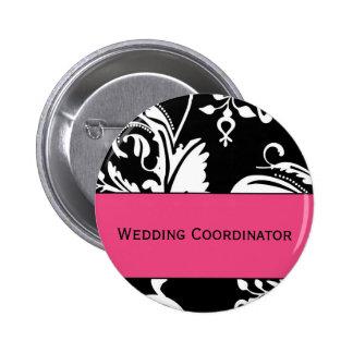 Botón del coordinador del boda de HP&B Pin Redondo De 2 Pulgadas