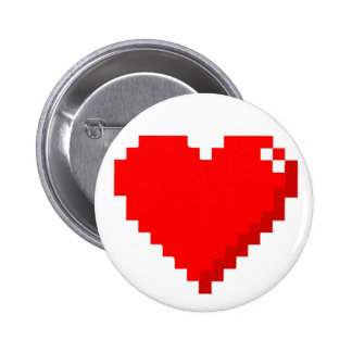 botón del corazón 8bit pin redondo de 2 pulgadas