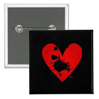 Botón del corazón de Emo Pin Cuadrado