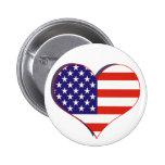Botón del corazón de la bandera de los E.E.U.U. Pin