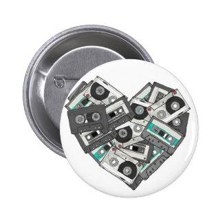 Botón del corazón de la cinta de casete de los sen pins