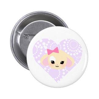 botón del corazón de la lavanda de Usagi-chan del Pin Redondo De 2 Pulgadas