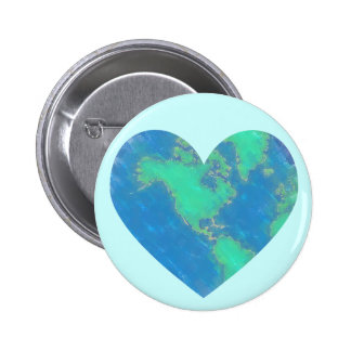 Botón del corazón de la tierra pin redondo de 2 pulgadas