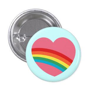 botón del corazón del arco iris 80s pin redondo de 1 pulgada