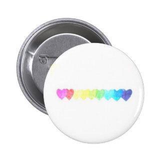 Botón del corazón del arco iris (descolorado) pins