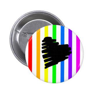 Botón del corazón del arco iris pin redondo de 2 pulgadas