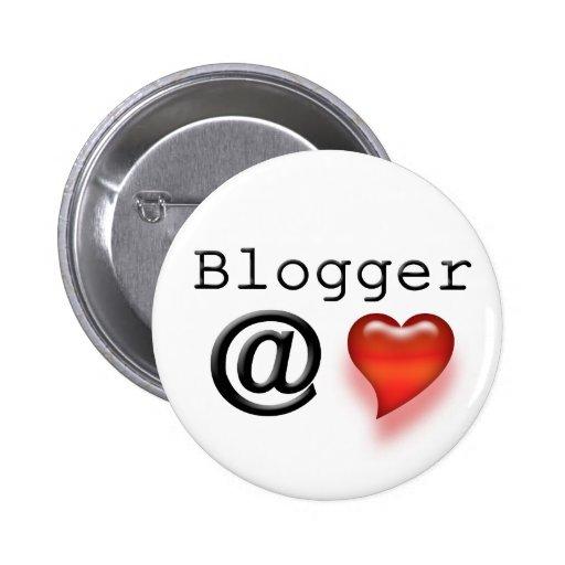 Botón del corazón del Blogger @ Pin Redondo De 2 Pulgadas