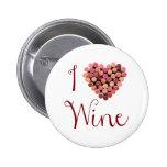 Botón del corazón del corcho del vino pins