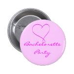 Botón del corazón del rosa del fiesta de Bachelore Pin