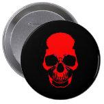 Botón del cráneo - cráneo rojo - insignia pins