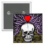 Botón del cráneo del amor pin