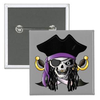 """""""Botón del cráneo del pirata"""" Pin Cuadrado"""