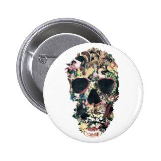 Botón del cráneo del vintage pin redondo de 2 pulgadas