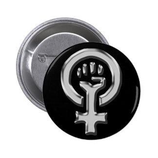 Botón del cromo del poder de la mujer