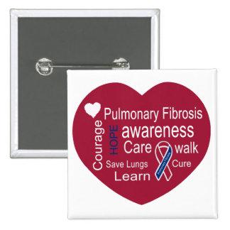Botón del cuadrado de la conciencia de la fibrosis pin cuadrado