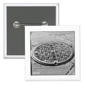 Botón del cuadrado de la cubierta de boca de NYC Pin Cuadrado