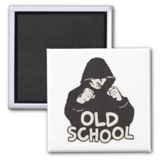 Botón del cuadrado de la escuela vieja imán cuadrado