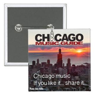 Botón del cuadrado de la guía de la música de Chic Pin Cuadrado