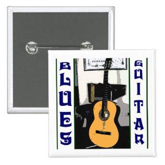 Botón del cuadrado de la guitarra de los azules pin cuadrado