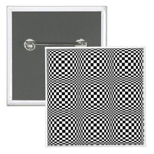 Botón del cuadrado de la ilusión del tablero de da pins
