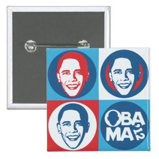Botón del cuadrado del arte pop de Obama 2012 Pin