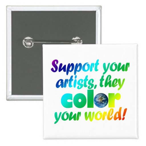 Botón del cuadrado del color de los artistas de la