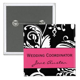 Botón del cuadrado del coordinador del boda de HP& Pin Cuadrado