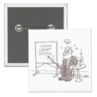 Botón del cuadrado del dibujo animado del licor pins