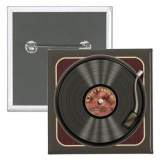 Botón del cuadrado del disco de vinilo del vintage pin cuadrado