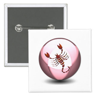 Botón del cuadrado del escorpión del escorpión pin