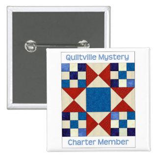 Botón del cuadrado del misterio de Quiltville Pin