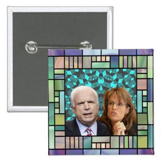 Botón del cuadrado del mosaico de McCain/Palin Pins