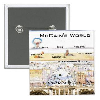 Botón del cuadrado del mundo de McCain Pin Cuadrado