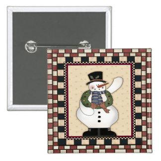 Botón del cuadrado del muñeco de nieve del navidad pin cuadrado