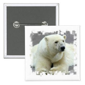 Botón del cuadrado del oso polar pin cuadrado