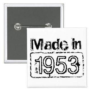 Botón del cumpleaños con año sellado personalizado pin cuadrado