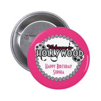 Botón del cumpleaños de Hollywood Pin Redondo De 2 Pulgadas