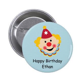 Botón del cumpleaños de la cara del payaso pin redondo de 2 pulgadas