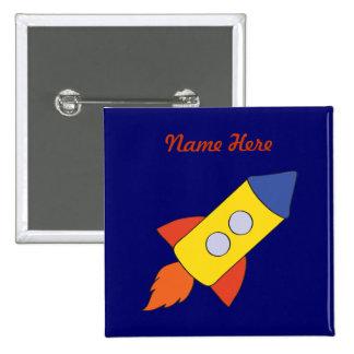 Botón del cumpleaños de la nave de Rocket Pin Cuadrado