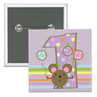 Botón del cumpleaños de la púrpura del ratón del g