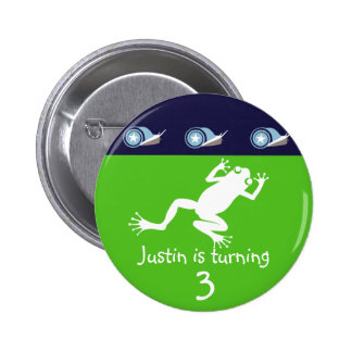 Botón del cumpleaños de la rana pin