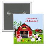 Botón del cumpleaños de los animales del campo del pin