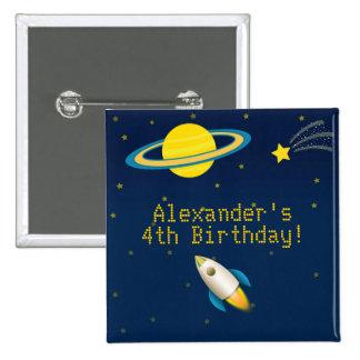 Botón del cumpleaños de Rocket del espacio Pin Cuadrado