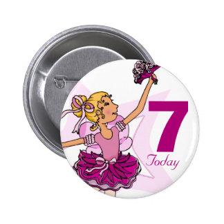 Botón del cumpleaños del chica rubio rosado de la pins