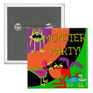 Botón del cumpleaños del fiesta del monstruo